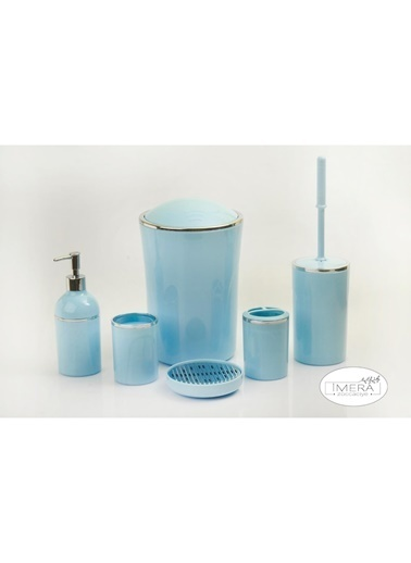 Akayev İmera 6 Parça Akrilik Mavi Gümüş Banyo Seti Mavi